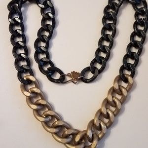 Hand Made Chunky Cable Chain Black & Gold Necklace